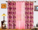 Dekor World Sprial World With Sheer Door Curtain - Pack Of 3