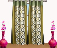 Desirica Polyester Green Printed Eyelet Door Curtain 213 Cm In Height, Pack Of 2