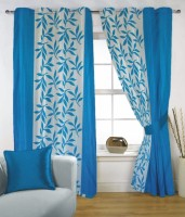 Fabutex Polyester Blue, White Window Curtain 150 Cm In Height, Single Curtain