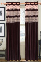 Furnishing Kingdom Polyester Brown Abstract Window & Door Curtain 90 Inch In Height, Pack Of 2