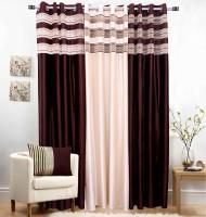 Jojo Designs Polyester Brown Self Design Eyelet Door Curtain 214 Cm In Height, Pack Of 3