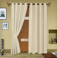 Story @ Home Jacquard Beige Printed Eyelet Door Curtain 215 Cm In Height, Pack Of 2