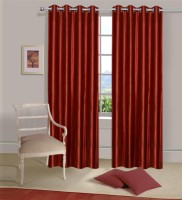 Home Elite Polyester Red Plain Eyelet Door Curtain 214 Cm In Height, Pack Of 2