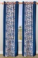 Jazz Home Polyester Blue Long Door Curtain 108 Inch In Height, Pack Of 2