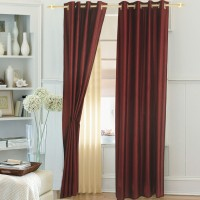 Ahmedabad Cotton Polyester Dark Red Solid Eyelet Door Curtain 213.36 Cm In Height, Single Curtain