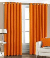 Surya Polyester Orange Plain Eyelet Door Curtain 84 Cm In Height, Pack Of 2