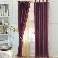 Ahmedabad Cotton Polyester Magenta Solid Eyelet Door Curtain 213.36 Cm In Height, Single Curtain