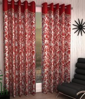 Jai Ganga Polyester Red Floral Curtain Door Curtain 213 Cm In Height, Pack Of 2