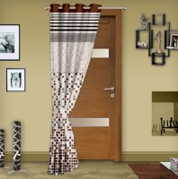 Story @ Home Jacquard Brown Printed Eyelet Door Curtain 215 Cm In Height, Single Curtain