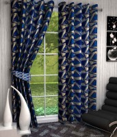 K Decor Polyester Blue Printed Eyelet Door Curtain 213 Cm In Height, Single Curtain