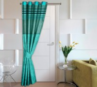 Story @ Home Jacquard Blue Printed Eyelet Door Curtain 215 Cm In Height, Single Curtain