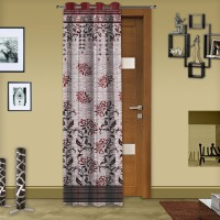 Story @ Home Polyester Maroon Abstract Eyelet Curtain 215 Cm In Height, Single Curtain