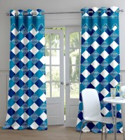 Trendy Home Polyester Blue Geometric Eyelet Door Curtain 204 Cm In Height, Pack Of 2