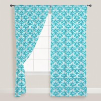 Smart Home Textile Cotton Light Blue Printed Eyelet Door Curtain 210 Cm In Height, Single Curtain