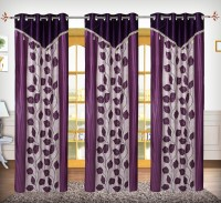 Comfort Zone Polyester Purple And White Betal Leaf Abstract Eyelet Long Door Curtain 274.32 Cm In Height, Pack Of 3