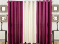 Pendu Art Polyester Dark Pink, Cream Plain Eyelet Long Door Curtain 274 Cm In Height, Pack Of 3