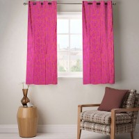 Fabutex Polyester Pink Geometric Eyelet Window Curtain 152 Cm In Height, Pack Of 2