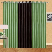 Shiv Shankar Handloom Polyester Green, Brown Crush Solid Eyelet Door Curtain 213 Cm In Height, Pack Of 3