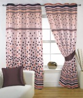 Fabutex Polyester Brown Floral Eyelet Door Curtain 210 Cm In Height, Pack Of 2
