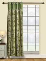 Firangi Polyester Green Floral Eyelet Door Curtain 213 Cm In Height, Single Curtain
