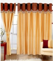 Elegence Polyester Multicolour Plain Curtain Door Curtain 215 Cm In Height, Pack Of 3