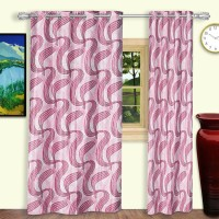Dreaming Cotton Polyester Pink Geometric Eyelet Door Curtain 210 Cm In Height, Pack Of 2