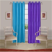 ExpressionsHome Polyester Blue, Purple Window Curtain 152 Cm In Height, Pack Of 2