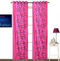 Fabutex Polycotton Pink Printed Eyelet Door Curtain 213 Cm In Height, Pack Of 2