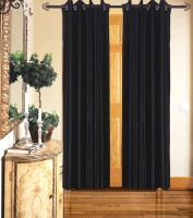 Home Fashion Gallery Polyester Black Plain Eyelet Door Curtain 213.36 Cm In Height, Single Curtain