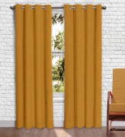 Story @ Home Jacquard Mustard Printed Eyelet Window Curtain 152 Cm In Height, Pack Of 2