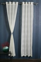 Sheer Empire Polyester White, Yellow Solid Door Curtain 213.36 Cm In Height, Single Curtain