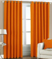 Fresh From Loom Polyester Orange Plain Curtain Door Curtain 212 Cm In Height, Pack Of 2