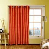 Kings Polycotton Red Striped Door Curtain 213.36 Cm In Height, Single Curtain