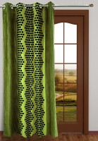 Homefab India Polyester Green Polka Eyelet Door Curtain 2.1 M In Height, Single Curtain