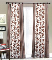 Fabutex Polyester Brown Floral Eyelet Door Curtain 210 Cm In Height, Pack Of 4