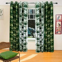 Homefab India Polyester Green Printed Eyelet Shower Curtain 180 Cm In Height, Single Curtain