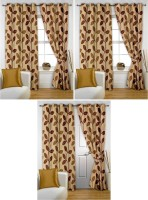 Story @ Home Polyester Beige Paisley Eyelet Window & Door Curtain 215 Cm In Height, Pack Of 6
