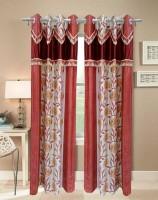 Homefab India Designer Rust Window Curtain (Pack Of 2)