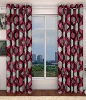 Home Beauty Polyester Multicolour Printed Long Door Curtain 273 Cm In Height, Pack Of 2