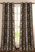 Deco Window Polyester Brown Printed Eyelet Door Curtain 228.6 Inch In Height, Single Curtain