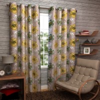 Enfin Homes Polyester Yellow, Green Floral Eyelet Door Curtain 84 Inch In Height, Pack Of 2