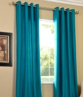 Decor Vatika Polyester Light Blue Door Curtain 214 Cm In Height, Single Curtain