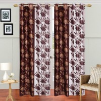 HomeTex Polyester Dark Brown Printed, Silver Printed Printed Eyelet Door Curtain (213 Cm In Height, Pack Of 2)
