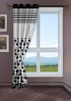 Story@Home Jacquard Black Printed Eyelet Window Curtain 118 Cm In Height, Single Curtain