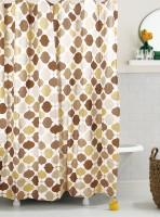 Bianca Cotton Brown Abstract Eyelet Window Curtain 180 Cm In Height, Single Curtain