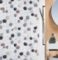 Spread PVC Grey, Brown Printed Curtain Shower Curtain 200 Cm In Height, Single Curtain