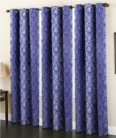 IndianOnlineMall Polyester Blue Printed Eyelet Window Curtain