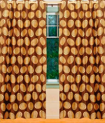 Home Candy Polyester Brown Printed Ring Rod Door Curtain (212 cms in Height, Pack of 2)