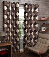 K Decor Polyester Brown Printed Window & Door Curtain 84 Inch In Height, Single Curtain