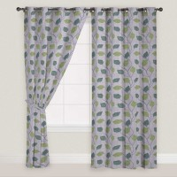 Presto Polyester Green, Grey Door Curtain 210 Cm In Height, Single Curtain